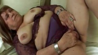 Chubby granny masturbates until gets a hard young duck in her wet vagina
