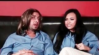 hot asian babe rides cock