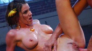 Aggressive dude pokes Kayla Paige making her groan loud