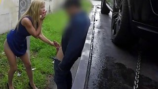 Busty blonde cougar gets pussy filled in tow truck