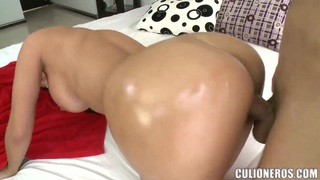 Luxurious brunette bitch drilled in doggie