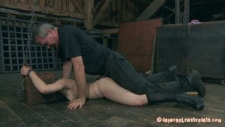Mature guy fingers and fucks helpless chick Juliette March