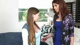 Pretty teen Skye West lesian session with busty mom Eva Long