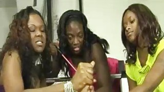 Three Ebony Babes Team Tug and Tease A Big White C