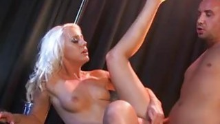 Beautiful blonde stripper sucks and fucks