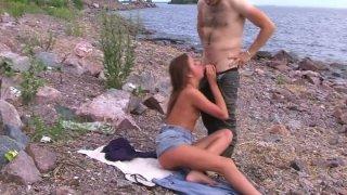 Hairy dude seduces a random chick for blowjob on the beach