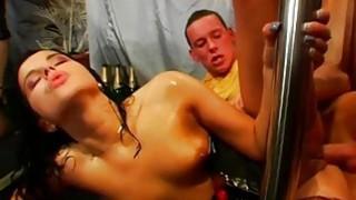 Guys receive moist pleasuring from horny darlings