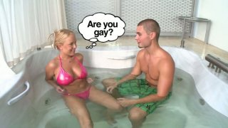 Kinky Jessica Moore seduces a man in jacuzzi for winning a tool