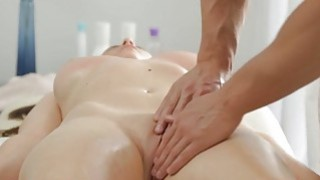 Busty brunette enjoys massage hardcore fuck