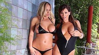 Lesbian duo of two big tits girls