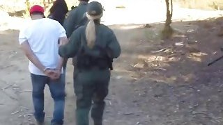 Two sluts sharing long cock at border outdoors
