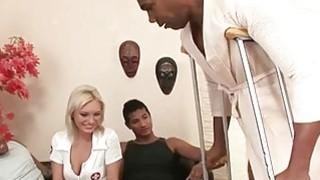 Blonde nurse worships 3 giant black cocks